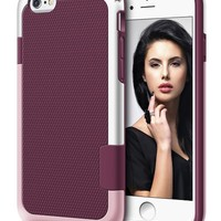 iPhone 6 Case, LoHi Hybrid Impact 3 Color TPU Shockproof Rugged Case [Extra Front Raised Lip] Back Strips Anti-slip [Protective Buffer] Dual Protection Cover Case for iPhone 6 4.7 Inch (Wine Red)