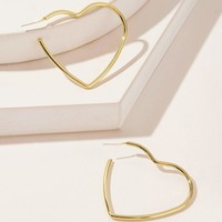 Open Heart Shaped Hoop Earrings 1pair