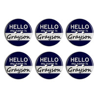 Grayson Hello My Name Is Plastic Resin Button Set of 6