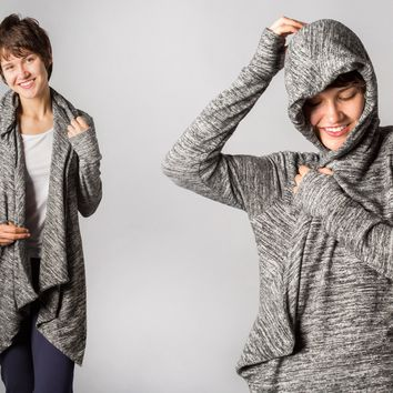 Red-Eye Wrap (Heathered)   Women's Travel Wrap-Cardigan With Built-In Eye Mask   Betabrand