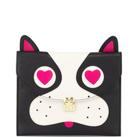 Pug Faux-Leather Clutch Bag, Black