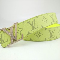 LV diamond and rhinestone monogram buckle belt