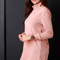 Soft Knit Turtle Neck Long Sleeve Sweater Dress