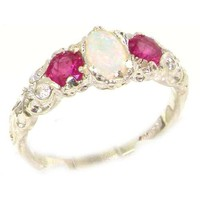 Ladies Solid Sterling Silver Natural Opal & Ruby English Victorian Trilogy Ring - Size 7.5 - Finger Sizes 5 to 12 Available