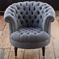 Regina Andrew Gray Wool Tufted Tub Chair