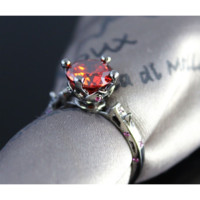 """Black Satin"" Red Sapphire Solitaire Ring"