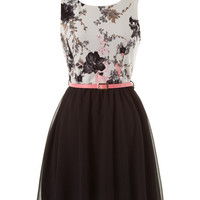 Floral Statement Dress - Black and Pink