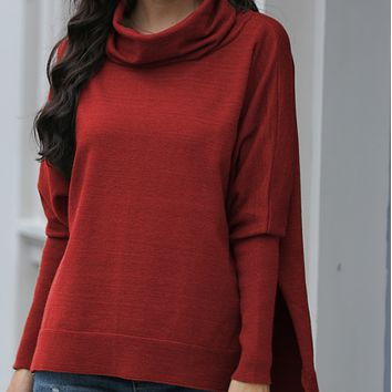 New hot-selling high-neck large-slit loose knit sweater=