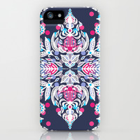Pastel Folk Art Pattern in soft navy, pink, mauve & white iPhone & iPod Case by micklyn