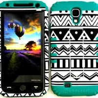 High Impact Hybrid Cover Case with Kickstand for Samsung Galaxy S4 lV I9500 Black and White Aztec Snap on + Teal Gel
