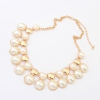 Pearl And Gold Beads Statement Necklace