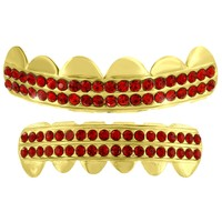 Ghost Crossing Grillz Top Bottom Set 14k Yellow Gold Finish