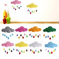 Kids Play Tent Decoration Tent Props Toy Raining Clouds Water Drop Star Moon Baby Bed Room Hanging Decor Wall Stickers