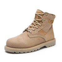 Mens Lace Up Army Style Leather Boots