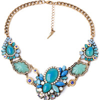 Women Glossy Turquoise Faux Stone Necklace