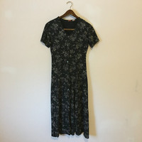 Vintage 90s Floral Dress, Button Up Dress, Grunge Dress, Courtney Love