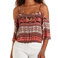 Sugar Coral Cmb Bloused Cold Shoulder Crop Top by Charlotte Russe