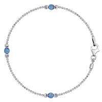 Baby Blue Crystal Bead Chain Anklet In Sterling Silver (9, 10 And 11 Length Inches)