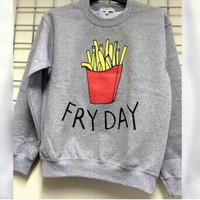 Free Shipping 2015 Newest Fashion Autumn Summer Women's Sweatshirts French Fries Printed Cute Long Sleeve Loose Woman's Tops