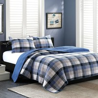 Ink+ivy Maddox 3-pc. Quilted Coverlet Set (Blue)