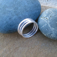 Silver Rings Fine Silver Jewelry Stacking Bands Size 8 Set of Three