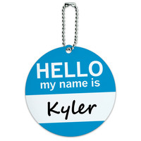 Kyler Hello My Name Is Round ID Card Luggage Tag