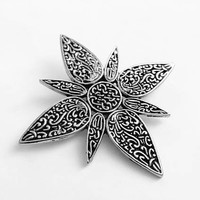 John Hardy Signed Silver Tone Floral Star Hair Clip Accessory, Beautiful Multi Use Clip