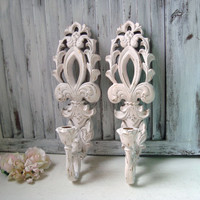 Light Pink Vintage Wall Sconces, Baby Pink Ornate Candle Holders, Fleur De Lis, Shabby Chic, Cottage Chic, Pink and Gold Wall Sconces