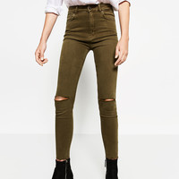 HIGH-WAISTED RIPPED TROUSERSDETAILS