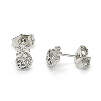 Rhodium Plated 02.310.0008 Stud Earring, Flower Design, with White Micro Pave, Polished Finish, Rhodium Tone