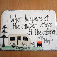 Camping Sign Camper Custom campsite travel trailer rv family name personalize