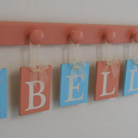 Baby Bird Nursery Decor, Bird Decor, Wooden Birds Designs, Baby Girl Nursery Name Sign 7 Plaques Personalized - BELLA and Birds Aqua / Coral