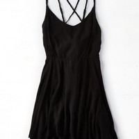 AEO Women's Don't Ask Why Strappy Flounce Dress (Black)