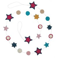 Pom and Stars Garland in Multicolor Felt Paper
