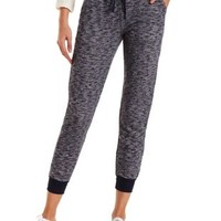 Marled French Terry Jogger Pants by Charlotte Russe - Navy