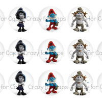 """1"""" Digital Bottle Cap Images The Smurfs 2, Smurfette, Papa,  Brainy, Vexy, and Hackus"""
