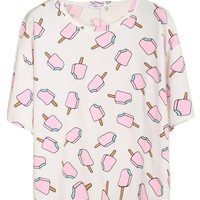 Sheinside Women's White Short Sleeve Popsicles Print T-shirt
