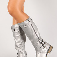Phebe-1 Dusty Metallic Distressed Knee High Riding Boot
