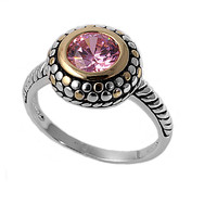 925 Sterling Silver CZ Two Toned Vintage Style Pink Ring 13MM