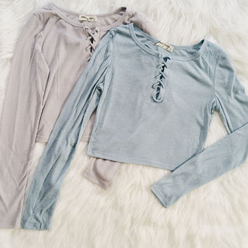 Francesca Ribbed Lace Up Top