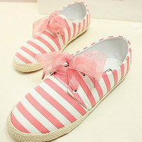 Strip Print Lace Bowknot Canvas Loafers