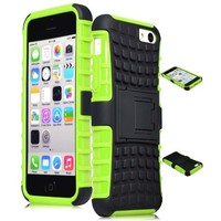 iPhone 5C Case, ULAK Slim Lightweight 2in1 iPhone 5C Cases Hybrid with Soft Rugged TPU Inner Skin and Hard PC Anti Scratches Protective Cover for Apple iPhone 5C (Green+Black)