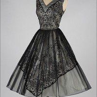 Vintage 1950's Black Chiffon Glitter Flock Cocktail Dress