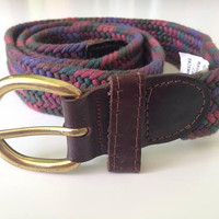 Womens Woven Belt, Fabric Belt in Purple Pink Green, Brown Leather Trim Belt, Gold Tone Buckle, Waist Chincher, Made in Canada, Size XS S