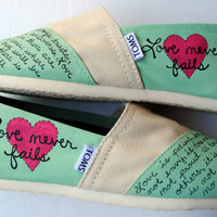 Womens Love Bible Verse Hand Painted TOMS by PaperHeartsApparel