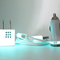 Teal Glow on White iPhone Charger with Rhinestones