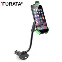 TURATA Phone Holder Universal Gooseneck Car Phone Stand Holder with 2.1A Dual USB Car Charger for IOS & Android Smartphone