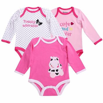3pieces/lot Cartoon Style Cotton Winter Baby Girl Bodysuits Long Sleeve;Infantil Baby Clothing Girl New Born Body Bebe 0-12month