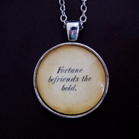 Emily Dickinson Poetry Jewelry. Fortune Befriends the Bold Necklace. 18 Inch Chain.