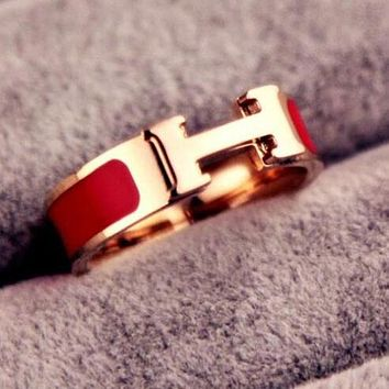 "Hot Sale ""Hermes"" Classic Popular Women Men Chic H Letter Titanium Steel Couple Ring Accessories Jewelry Red"